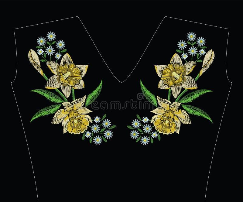 Вышивка шьет с желтым daffodil narcissus, стоцветом иллюстрация вектора