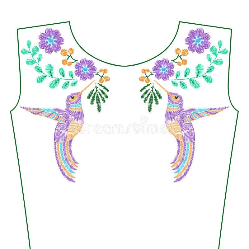 Вышивка шьет с колибри, одичалыми цветками весны для ne бесплатная иллюстрация