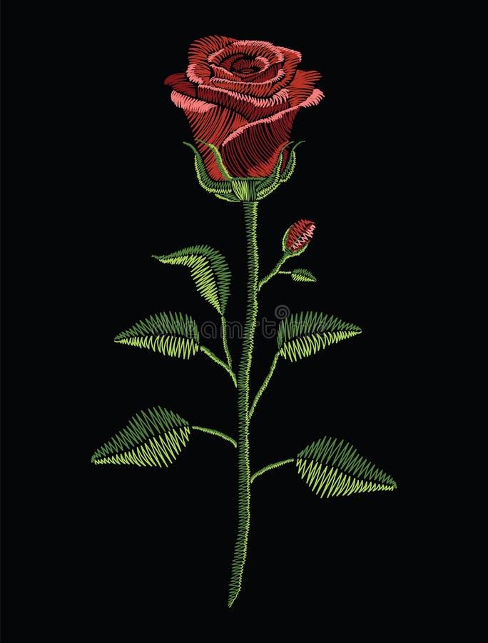 Вышивка шьет с красной розой и зеленый цвет выходит в пастельный col бесплатная иллюстрация
