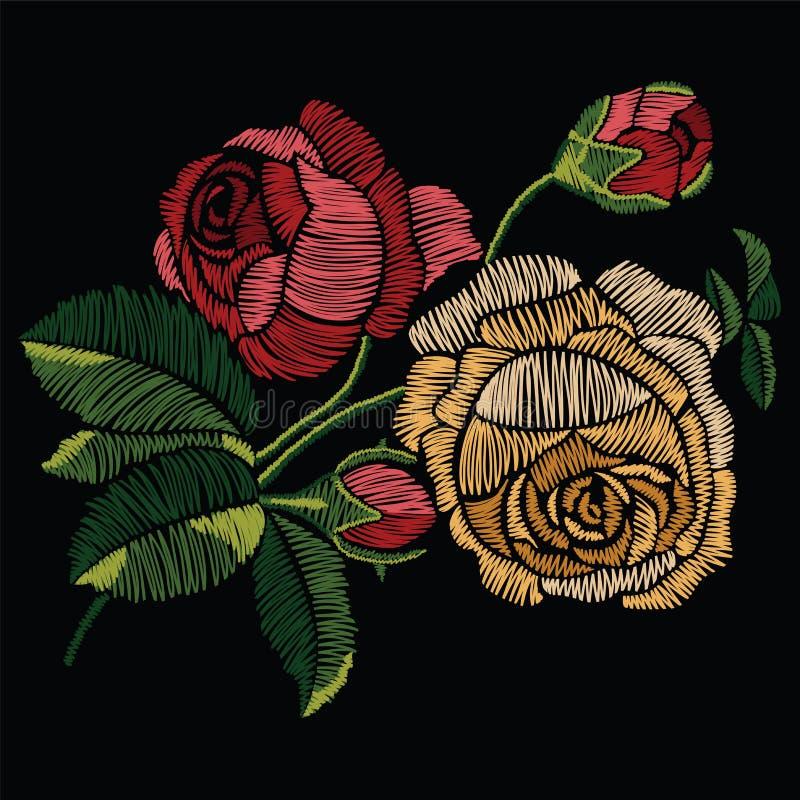 Вышивка шьет с красными и желтыми розами в пастельном цвете V бесплатная иллюстрация