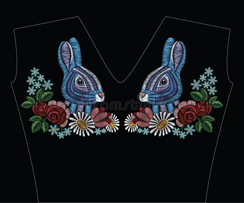 Вышивка шьет с кроликом, розами, стоцветом, myosotis в p бесплатная иллюстрация