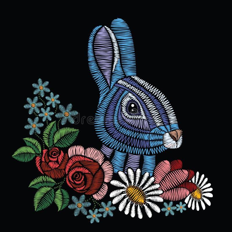 Вышивка шьет с кроликом, розами, стоцветом, myosotis в p иллюстрация вектора