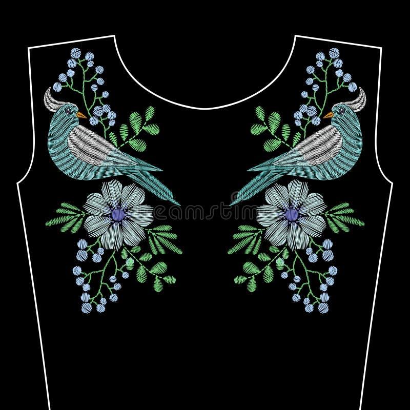 Вышивка шьет с птицей голубя, голубыми полевыми цветками бесплатная иллюстрация