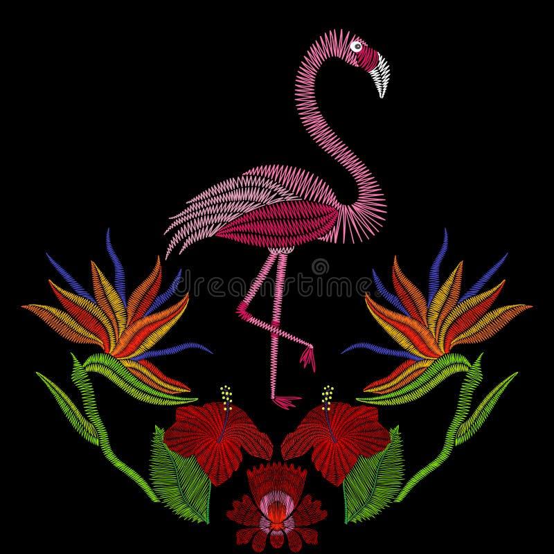 Вышивка шьет с птицей фламинго с цветками гибискуса Ve бесплатная иллюстрация