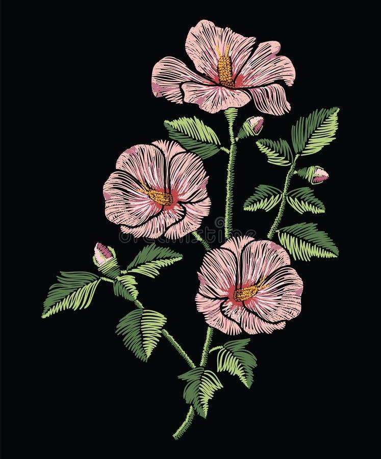 Вышивка шьет с розовыми цветками гибискуса с зелеными листьями иллюстрация штока