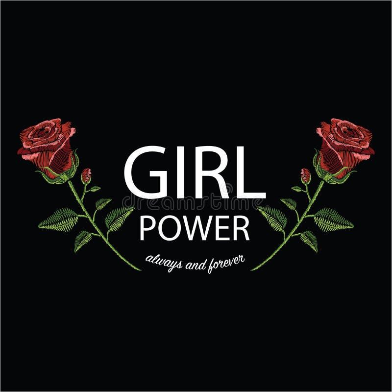 Вышивка шьет с силой девушки красной розы и лозунга иллюстрация вектора