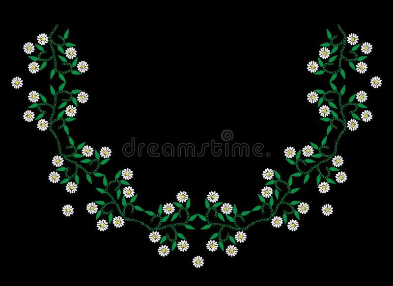 Вышивка шьет цветочный узор влияния с белым цветком и бесплатная иллюстрация