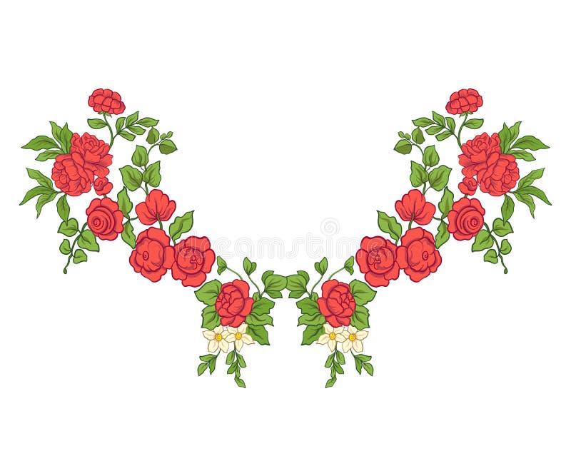 Вышивка для линии воротника Флористический орнамент в винтажном стиле иллюстрация штока