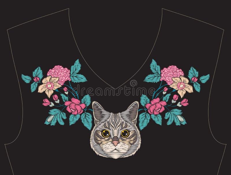 Вышивка для neckline, воротника для футболки, блузки, рубашки бесплатная иллюстрация
