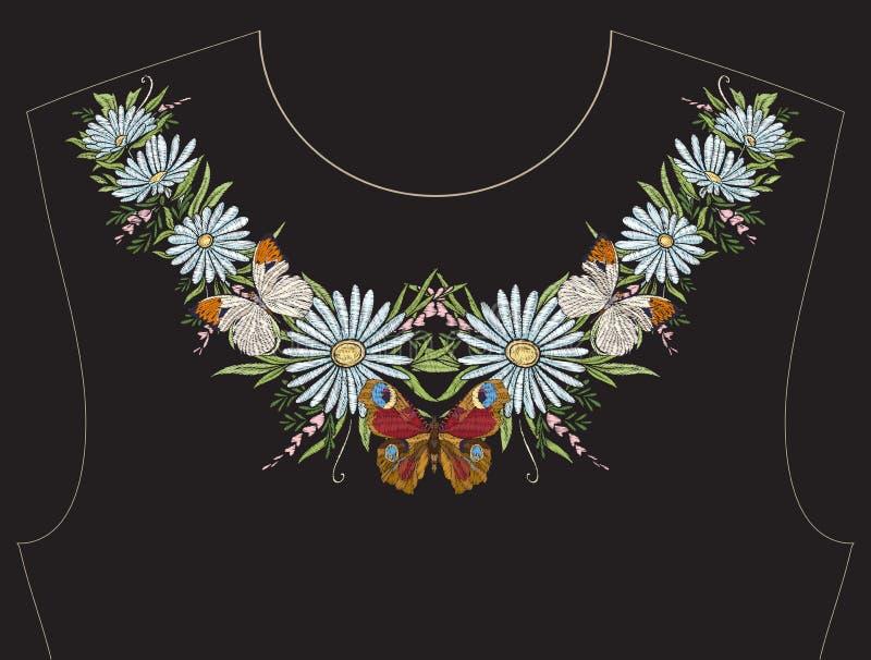 Вышивка для neckline, воротника для футболки, блузки, рубашки иллюстрация штока