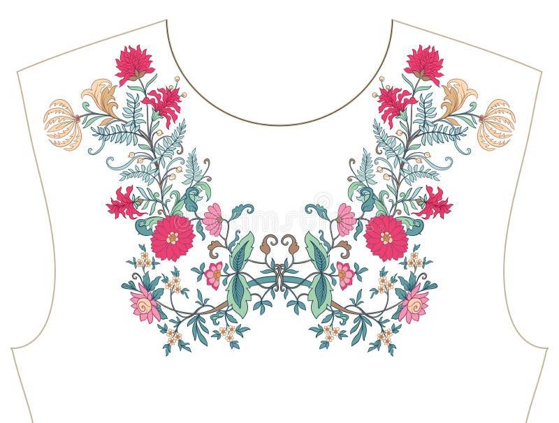 Вышивка для neckline, воротника для футболки, блузки, рубашки иллюстрация вектора