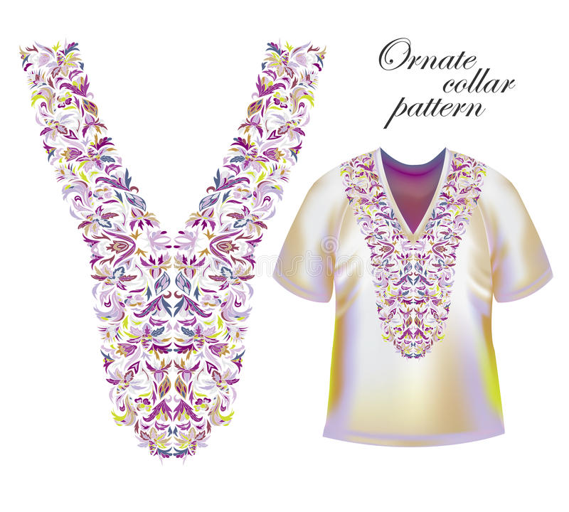 Вышивка Neckline Красивый модный воротник вышитый в методе вышивки крестиком - векторе запаса иллюстрация штока