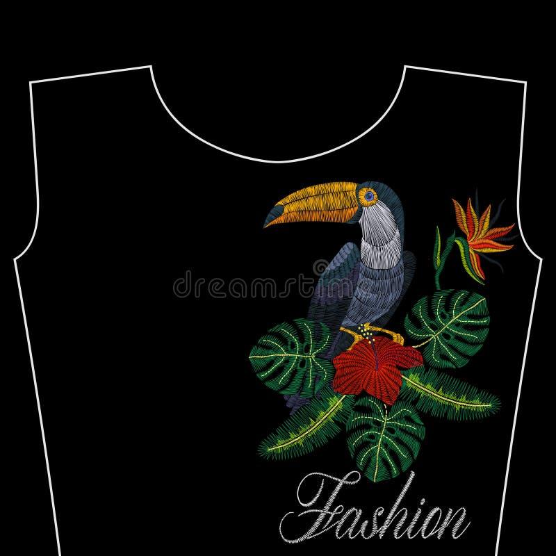Вышивка toucan с тропическими цветками, слово моды, иллюстрация вектора для девушек иллюстрация вектора