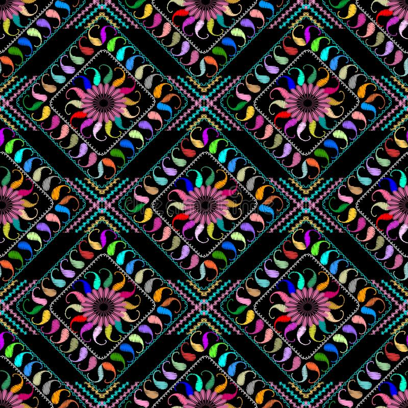 Вышитая конспектом картина Пейсли безшовная Вектор красочный p бесплатная иллюстрация