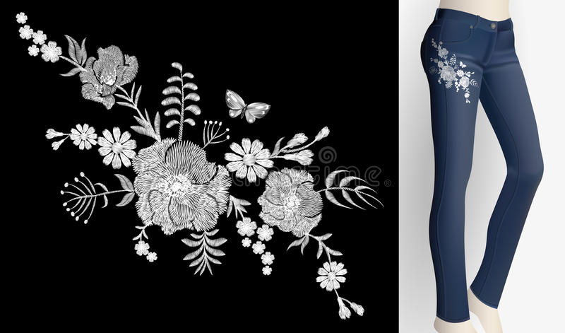 Вышитые травы маргаритки мака заплаты белого цветка розовые Женщины уменьшают вышивку печати флористического орнамента украшения  иллюстрация вектора