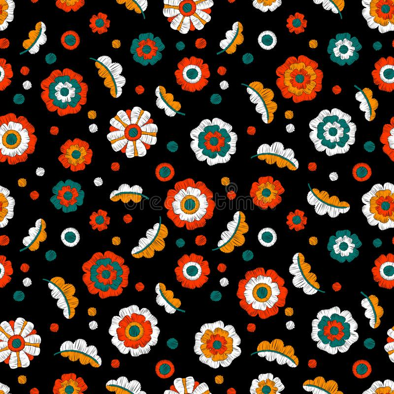 Вышитый безшовный цветочный узор handmade Красочное embroide иллюстрация штока