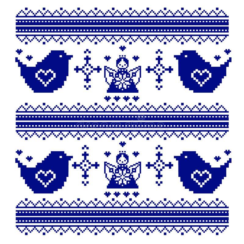 Вышитый традиционный chickadee птиц мотива или картина воробей и ornamental ангелов иллюстрация штока