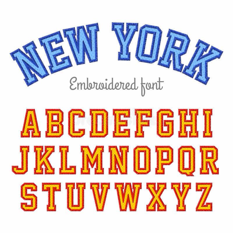 Вышитый шрифт стиля спорта иллюстрация вектора