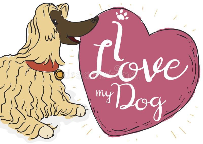Вышколенная собака афганской борзой ждать с Doodles, иллюстрация вектора бесплатная иллюстрация