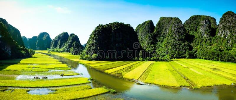 Выдалбливайте туристские шлюпки в Tam Coc, Ninh Binh, Вьетнаме стоковое изображение