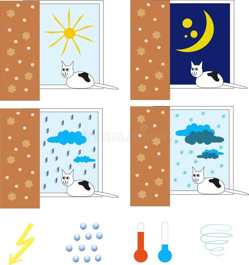 Выдержите с черно-белым котом, он сидит на окне иллюстрация штока
