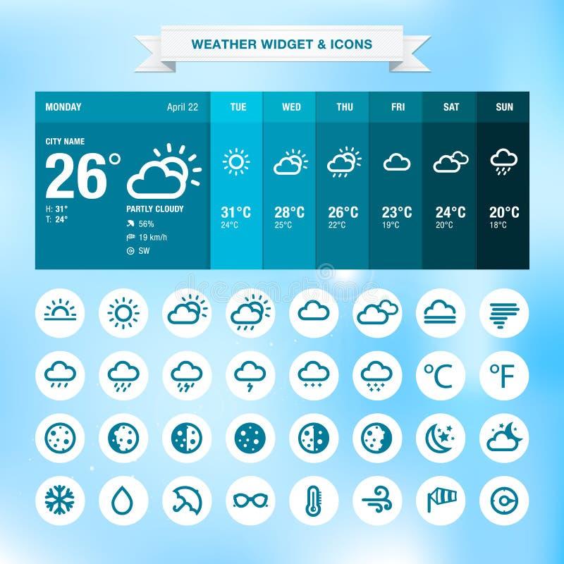Widget и иконы погоды иллюстрация вектора