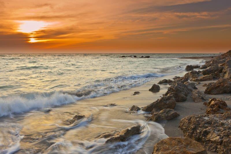 Выдержка времени волн на Мексиканском заливе стоковое изображение rf