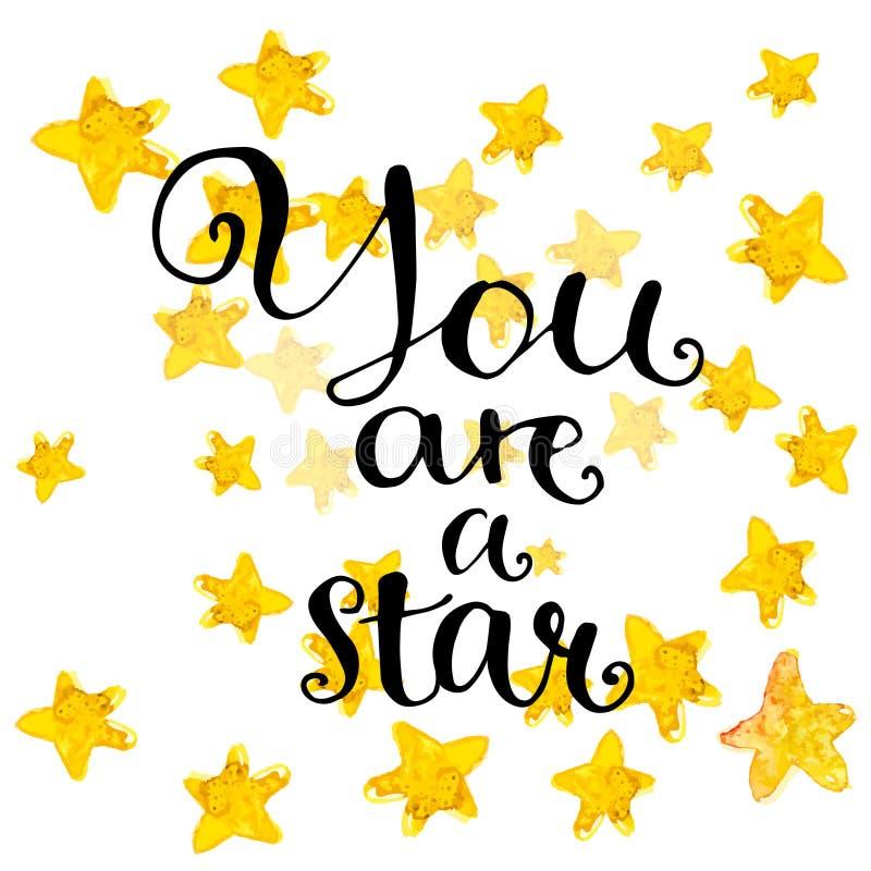 Вы звезда - современная фраза каллиграфии иллюстрация штока