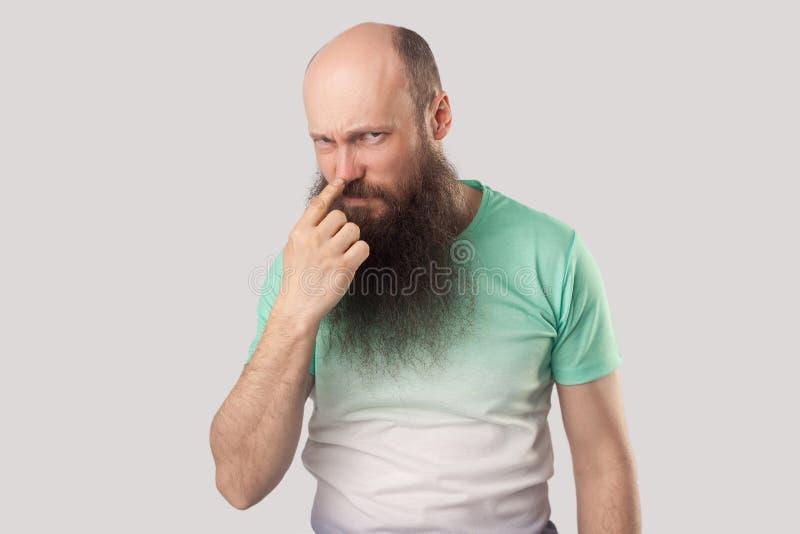 Вы лжец Портрет сердитой середины постарел лысый человек с длинной бородой в зеленой футболке стоя, смотря и указывая на его нос, стоковое фото