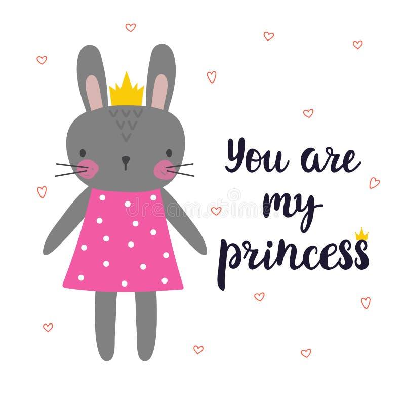 Вы моя принцесса Милый маленький зайчик с кроной Романтичная карточка, поздравительная открытка или открытка Иллюстрация с красив бесплатная иллюстрация