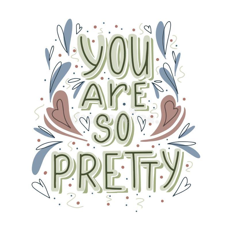 Вы настолько довольно вручить вычерченную литерность с сердцем doodle и украшением листьев Милый комплимент для карты, печати на  иллюстрация штока