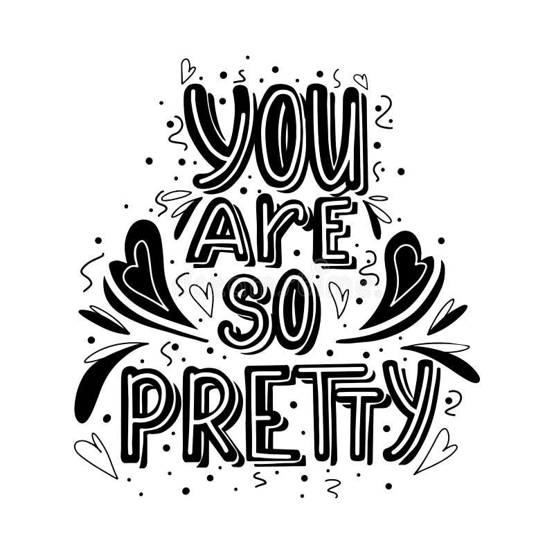 Вы настолько довольно литерность руки вычерченная monochrome с сердцем doodle и украшением листьев Милый комплимент иллюстрация вектора