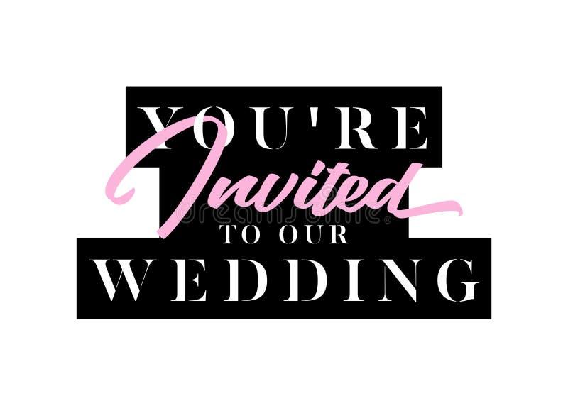 Вы приглашенное название для плана, карточки, Wedding приглашение иллюстрация вектора