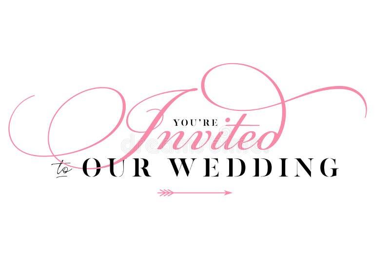 Вы приглашенное Wedding название для карточки, приглашения иллюстрация штока