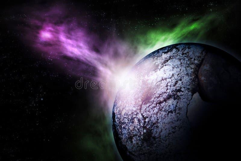 Выдуманная сцена разрушения дистантной планеты иллюстрация вектора