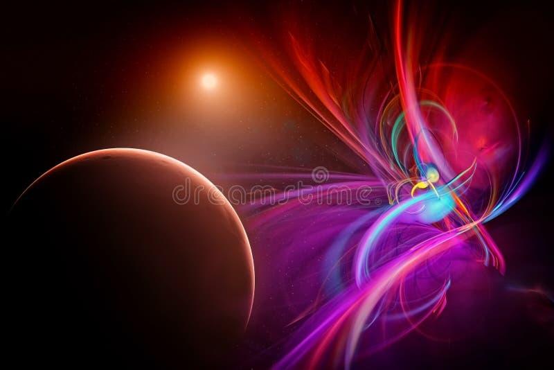 Выдуманный космос с планетами иллюстрация вектора