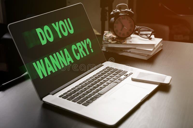 Вы хотите заплакать Malware зараженный компьютер стоковое изображение