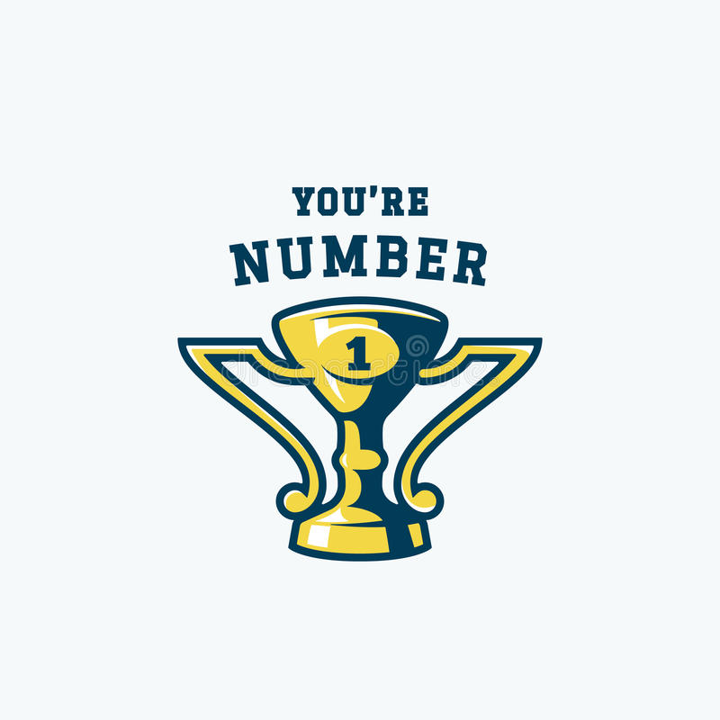Вы эмблема одно абстрактная Чашка приза чемпиона Знак трофея спорта вектора, символ или шаблон логотипа иллюстрация штока