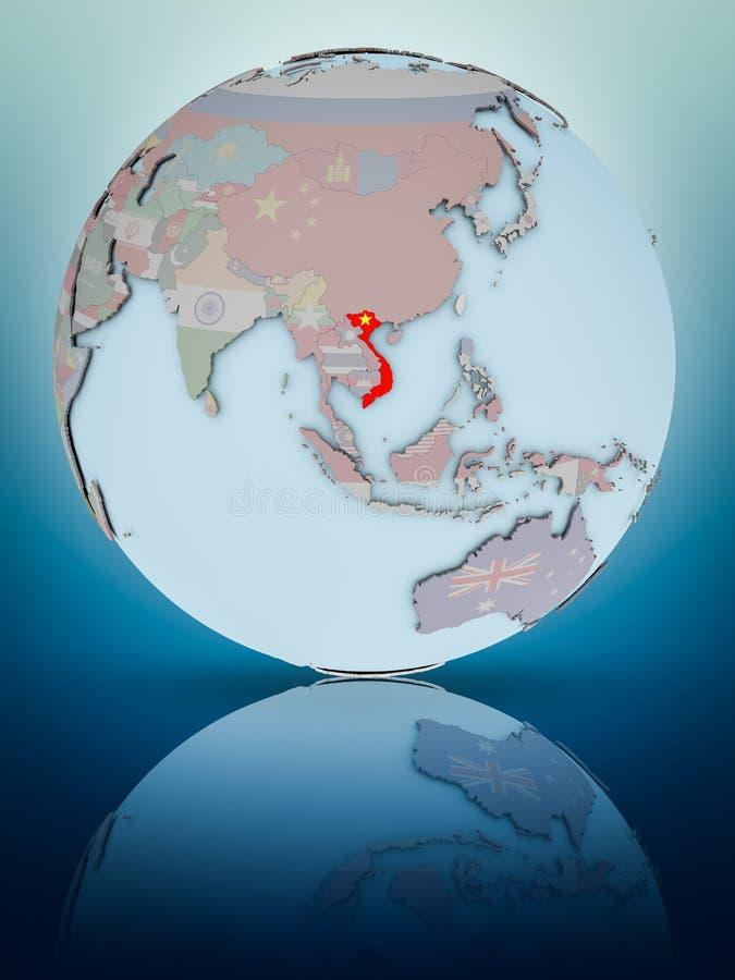 Вьетнам на политическом глобусе стоковая фотография rf