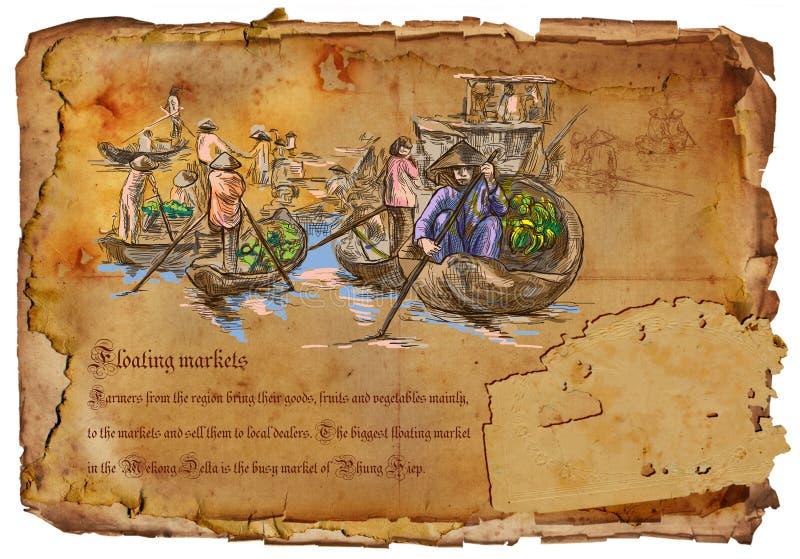 Вьетнам - плавая рынки вычерченная рука иллюстрация штока
