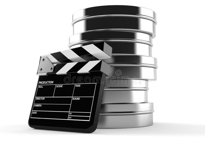 Вьюрки фильма с clapboard иллюстрация вектора