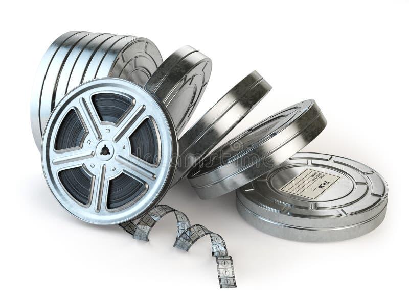 Вьюрок и коробки фильма Видео, кино, концепция года сбора винограда кино иллюстрация штока