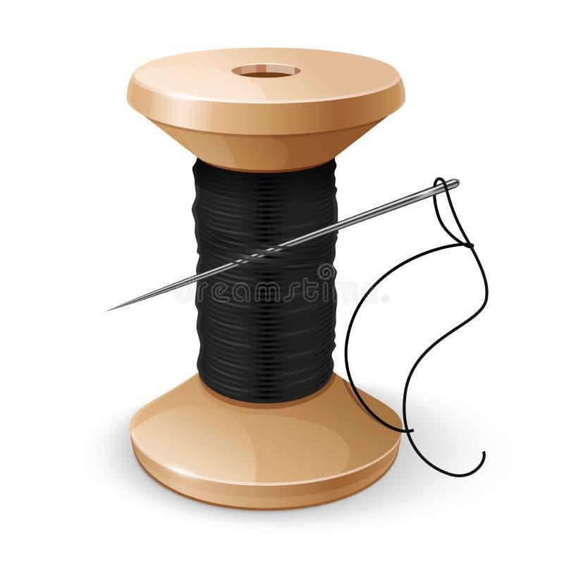 Вьюрок с черными потоком и иглой иллюстрация штока