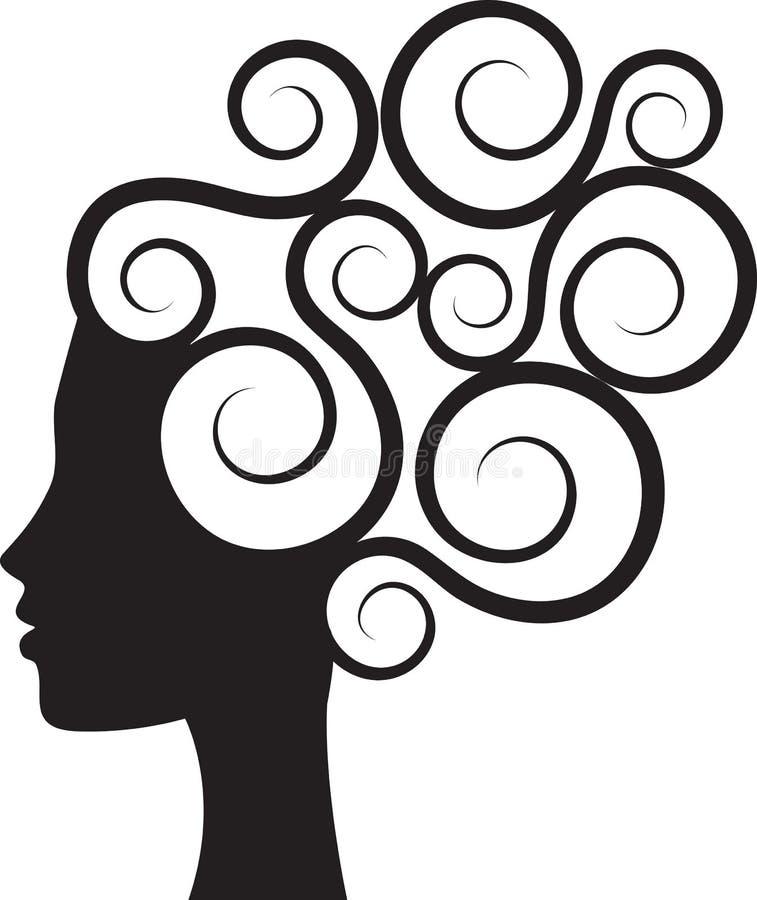 Вьющиеся волосы иллюстрация вектора