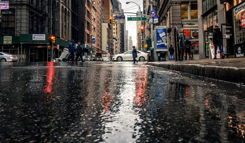Влажные улицы в Нью-Йорке стоковая фотография rf