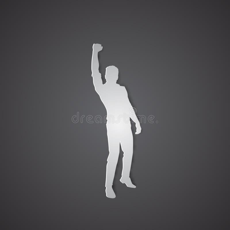 Владение бизнесмена возбужденное силуэтом вручает вверх по поднятым оружиям, успеху победителя концепции иллюстрация штока