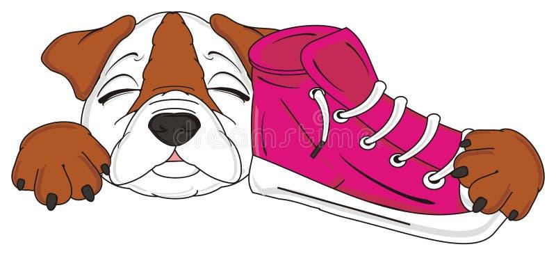 Владение бульдога ботинки иллюстрация штока