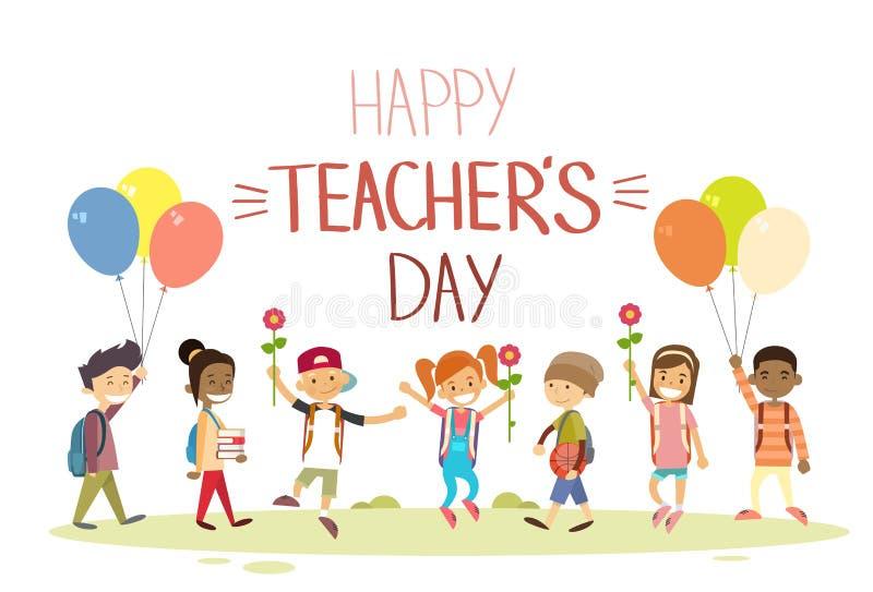 Владение группы обычной школы учителя цветет поздравительная открытка праздника воздушных шаров иллюстрация вектора