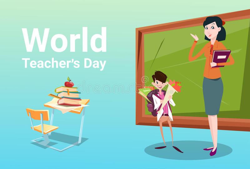 Владение группы школьника дня учителя цветет присутствующий класс женщины приветствию иллюстрация вектора