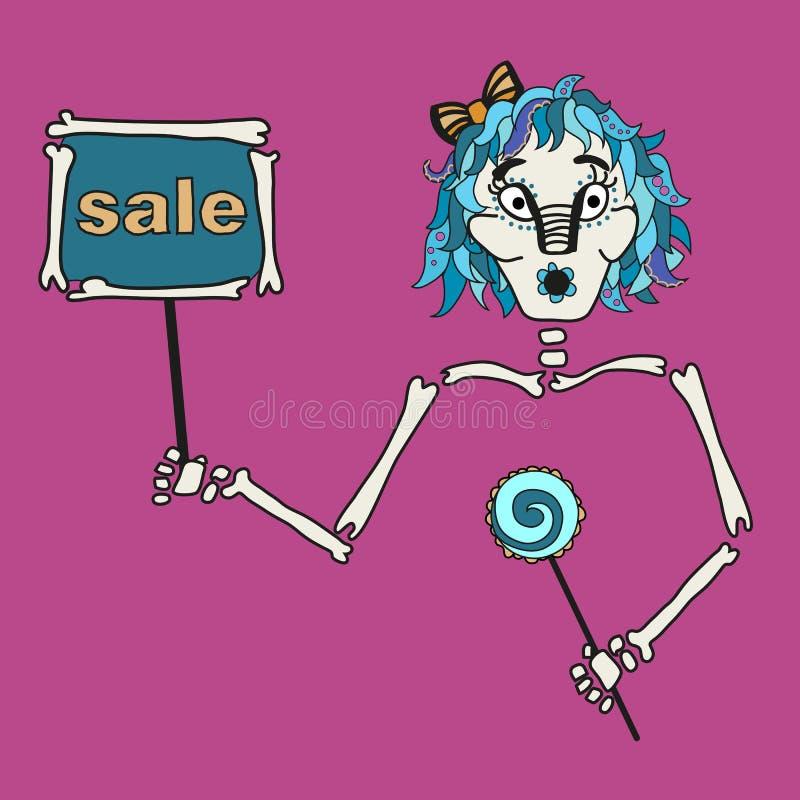 Владение девушки хеллоуина таблетка с надписью: продажа иллюстрация вектора